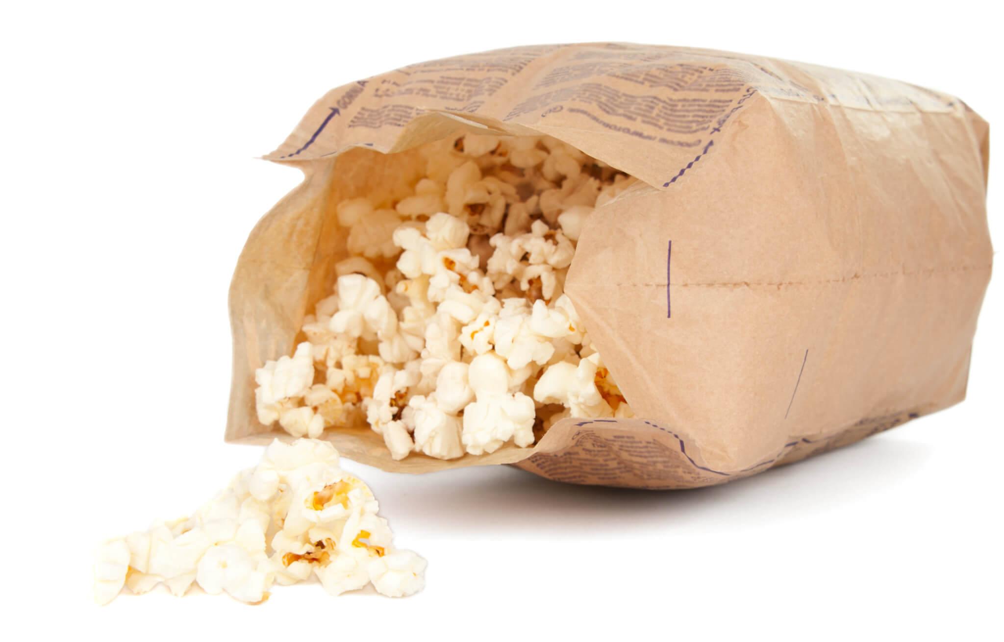 An open bag of popcorn