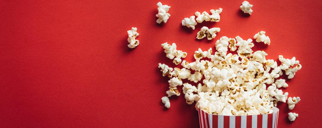 Popcorn in a movie theater bucket