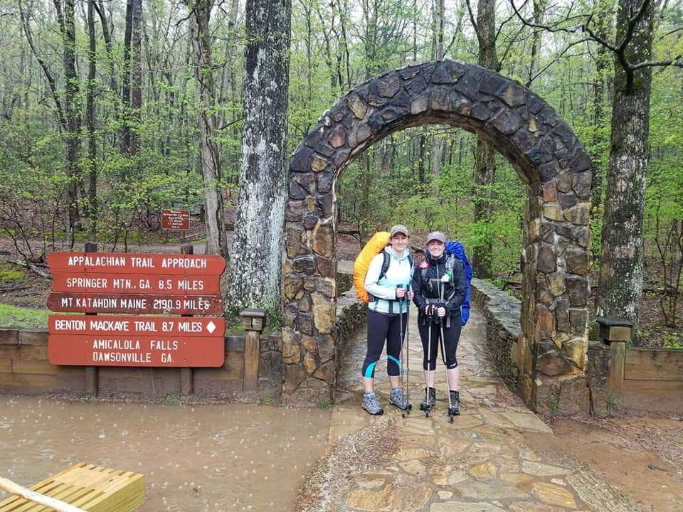 Hikers at the trail starting point