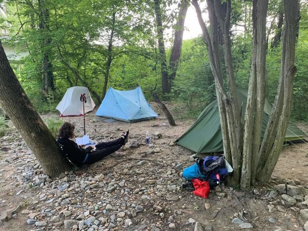 Rebekah by a campsite in Erwin TN