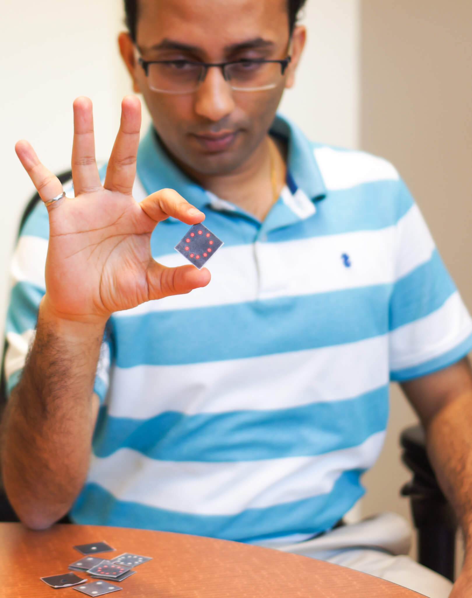 Mohit verma demonstrates bio sensor technology.