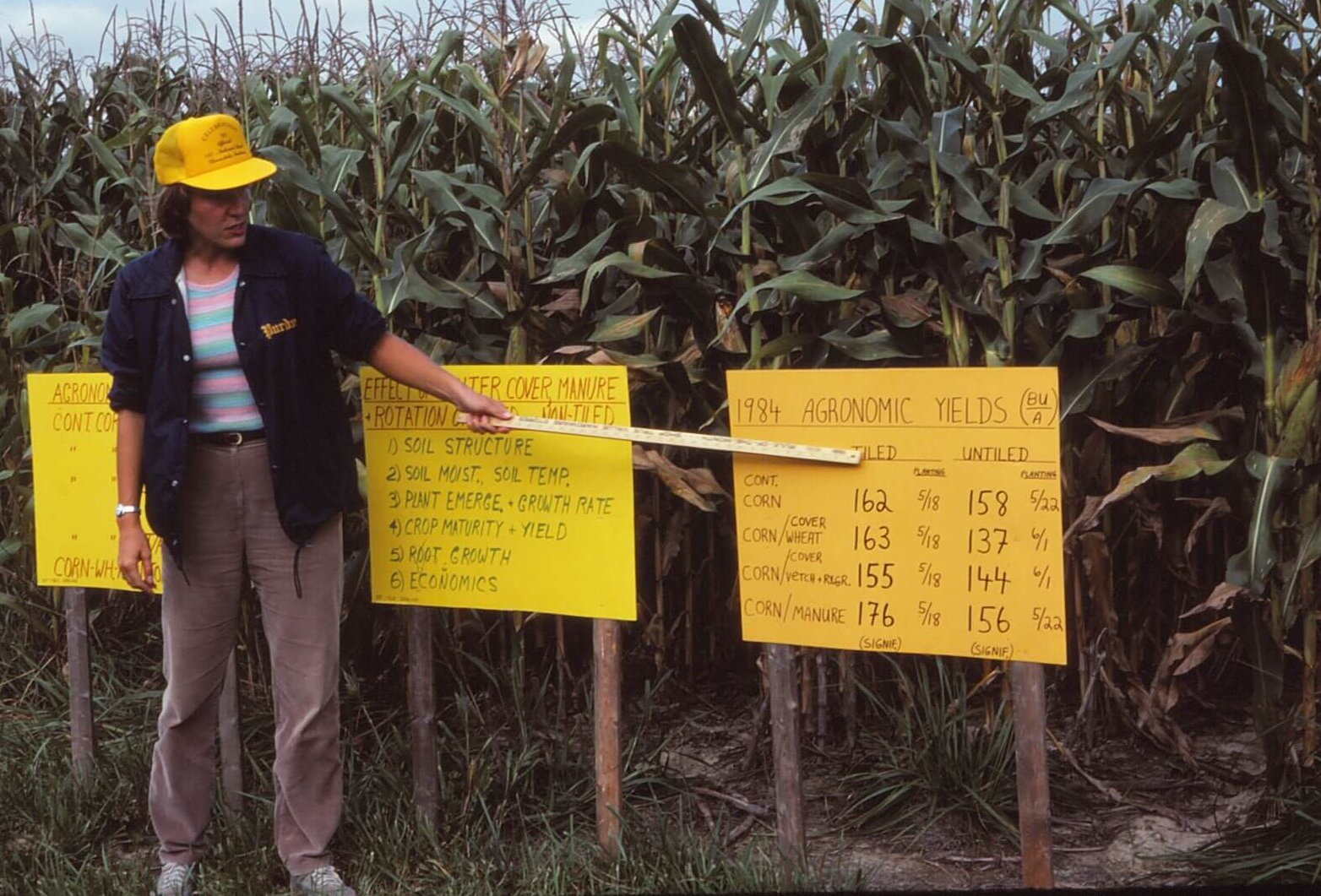 Eileen Kladivko performed a 35-year research project at SEPAC on field tile drainage.