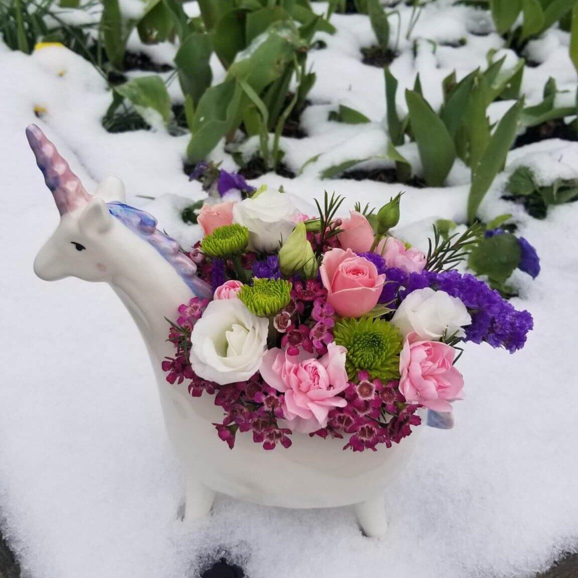 Flowers in a unicorn