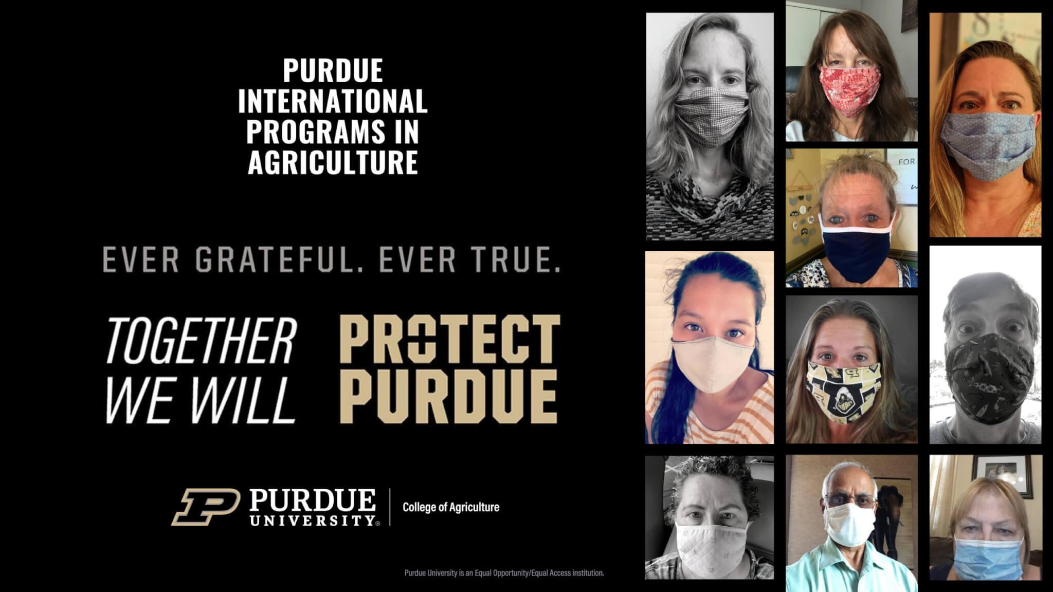 The IPIA team showing off their masks. Left to right: Kara Hartman, Julie Hancock, Trish Sipes, Nyssa Lilovich, Lynn Cornell, Jerry Shively, Amanda Dickson, Carole Braund, Kashchandra Raghothama, and Ruth Ann Bowles.