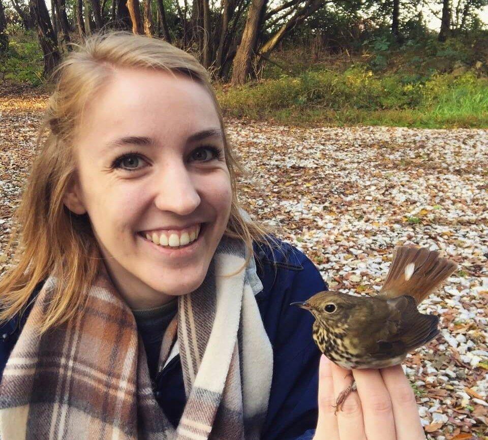 Jessica Outcalt holding a bird