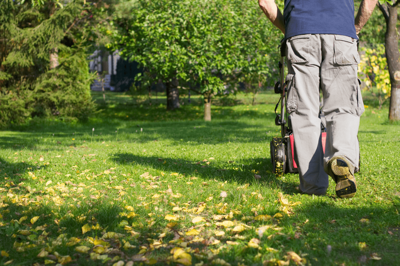 Mowing with leaves