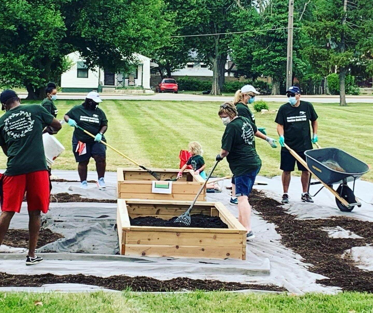 Group working on community garden