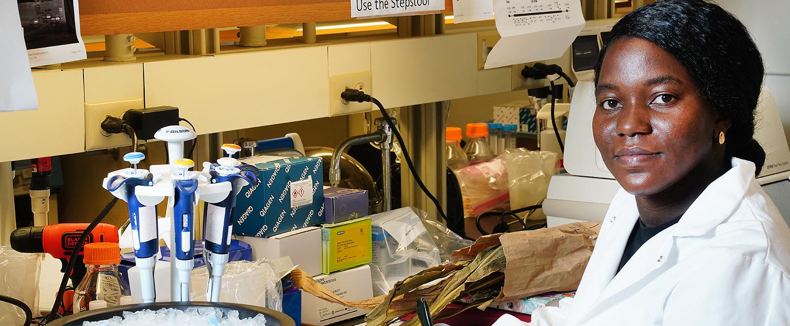 Tiffanna Ross in lab