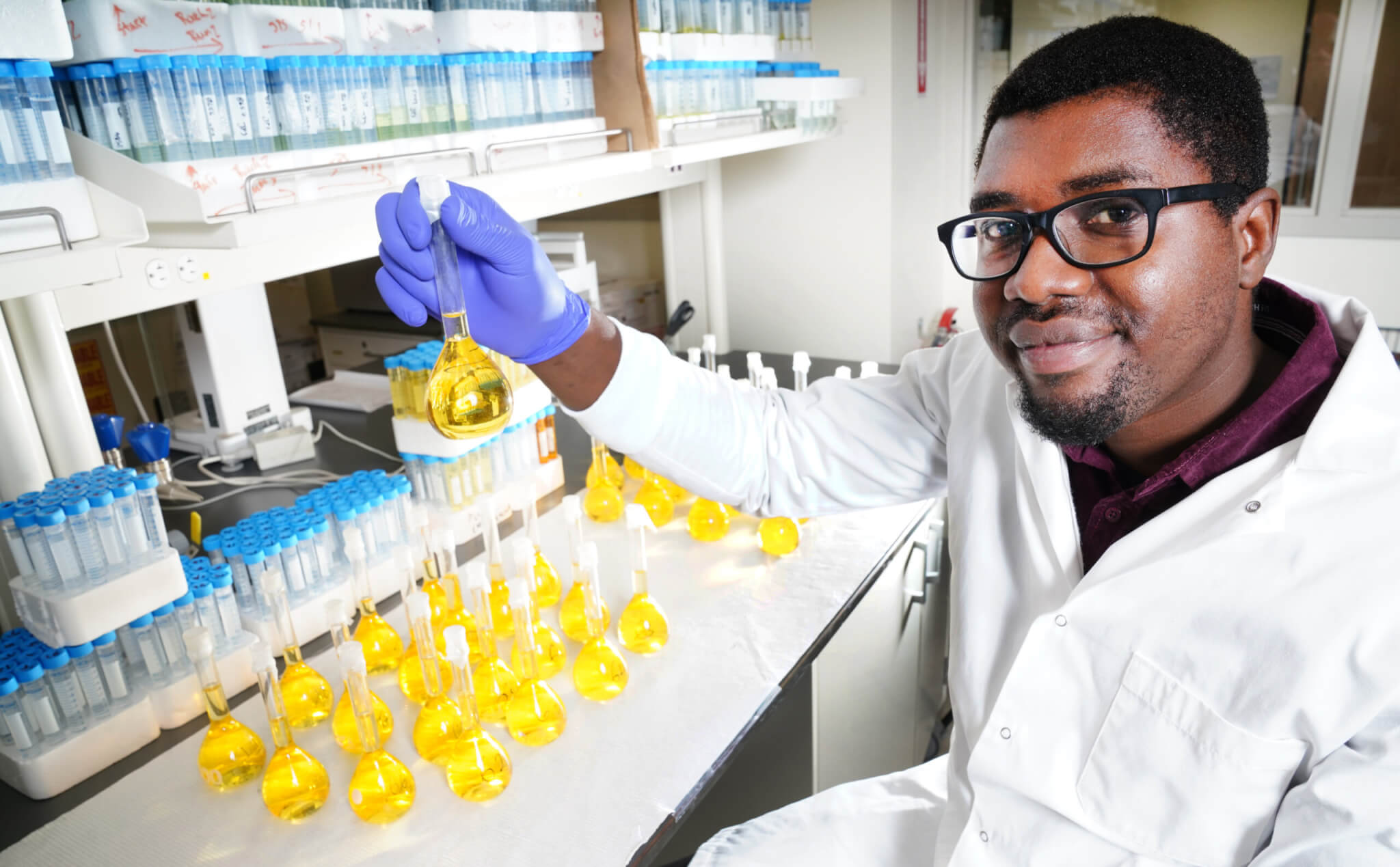 Aderibigbe in the lab