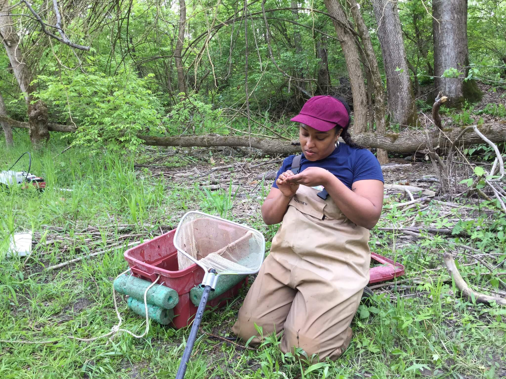 Megan Gunn works collecting specimens to monitor population density and water quality.