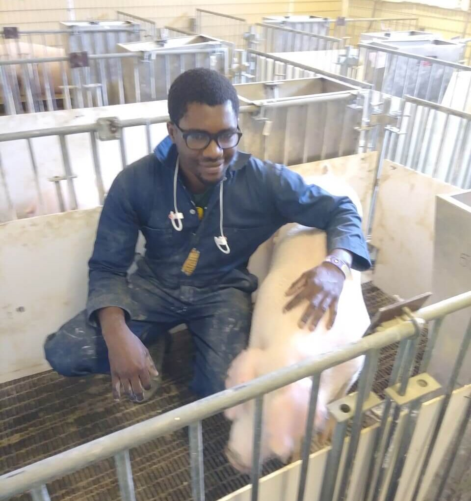 Ayodeji with pig