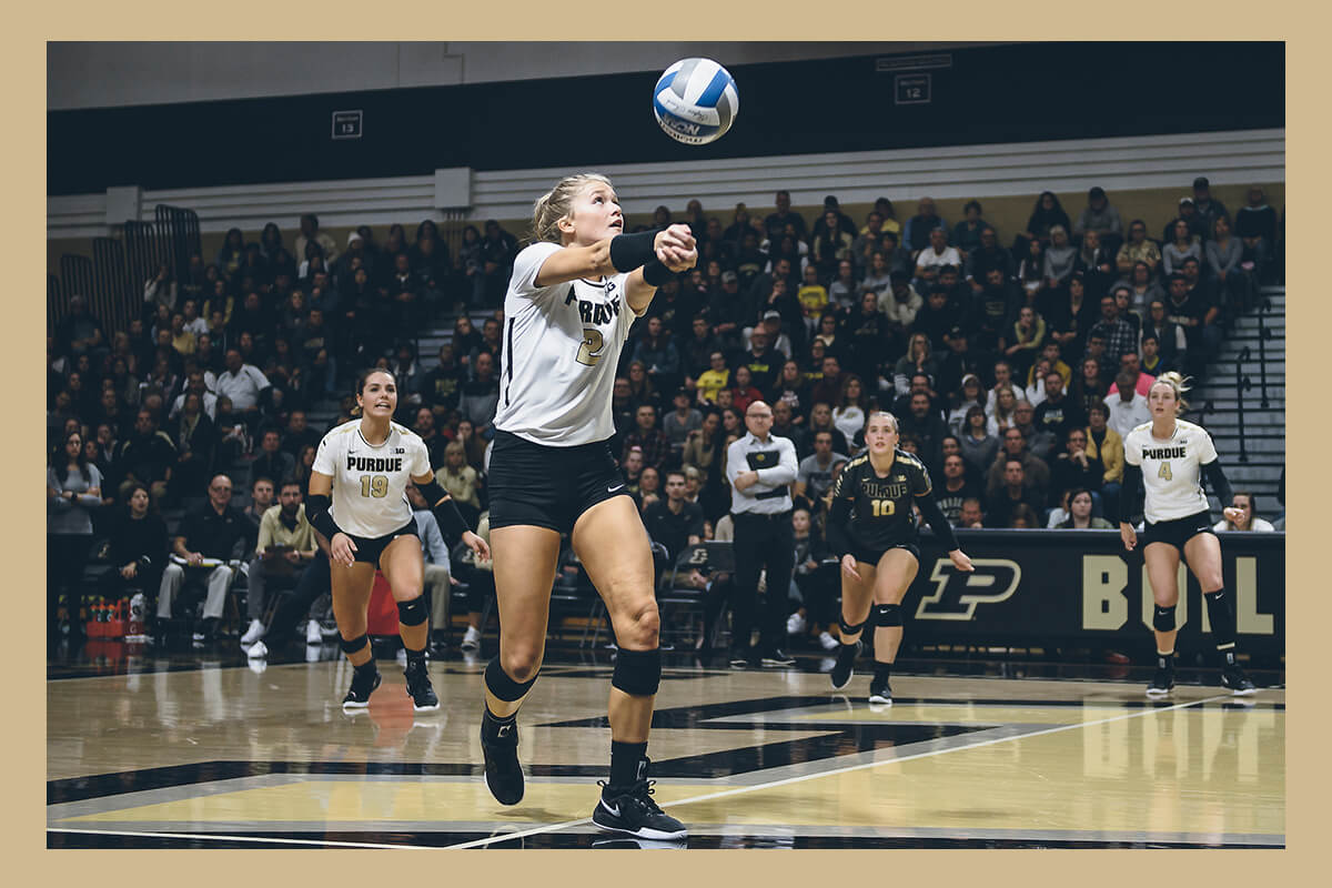 Hayley Bush playing volleyball for Purdue