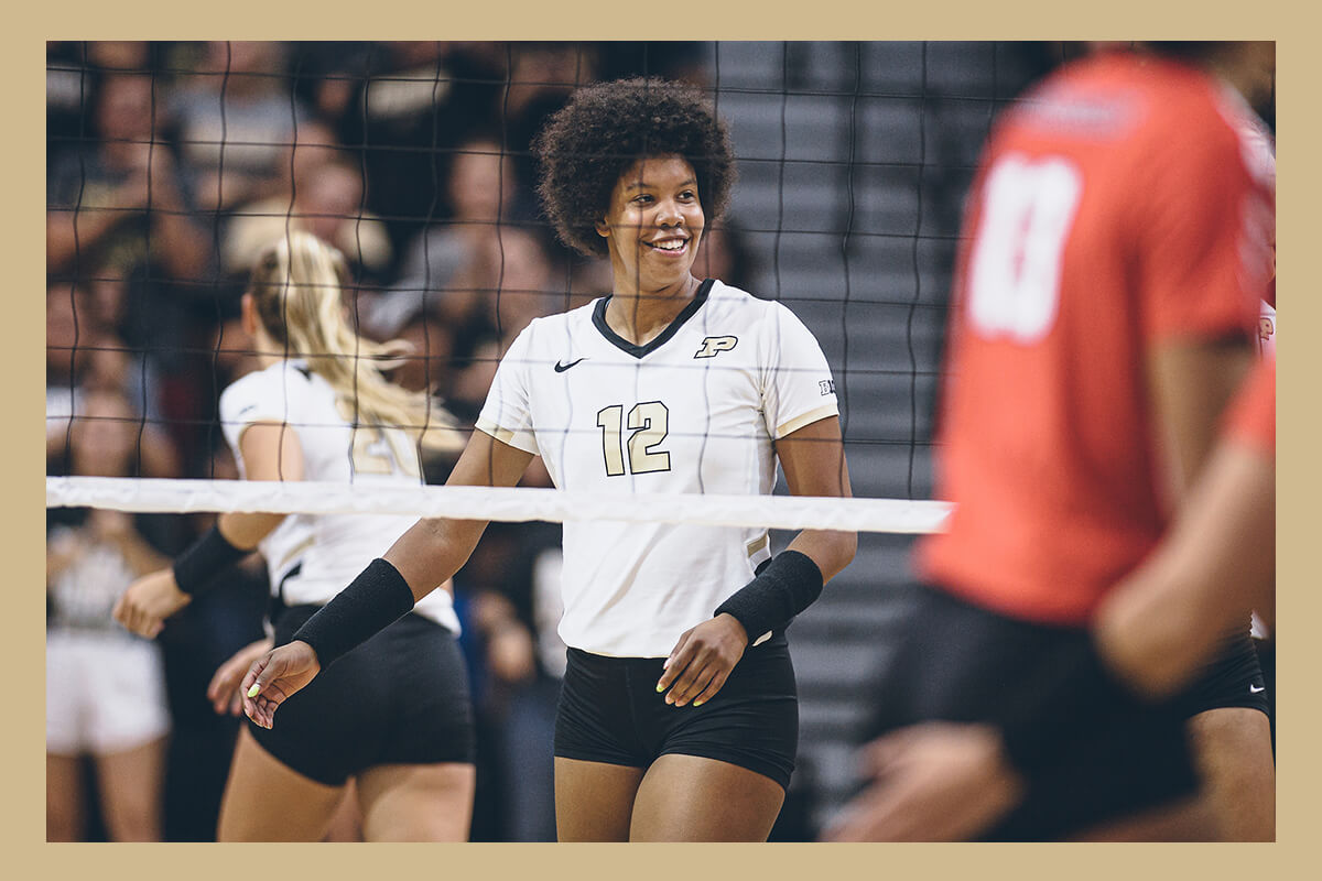 Emma Ellis playing volleyball for Purdue