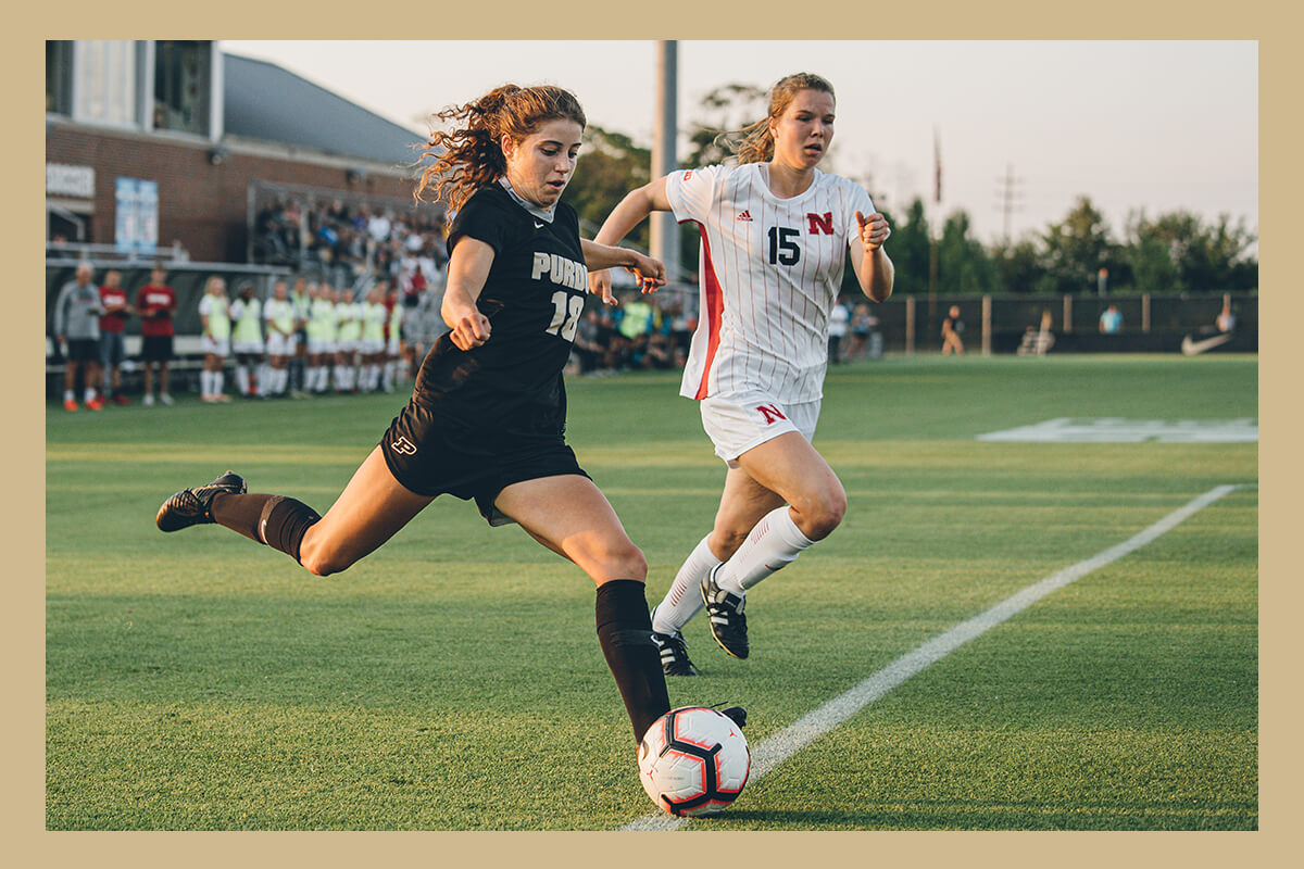 Hannah Melchiorre playing soccer for Purdue