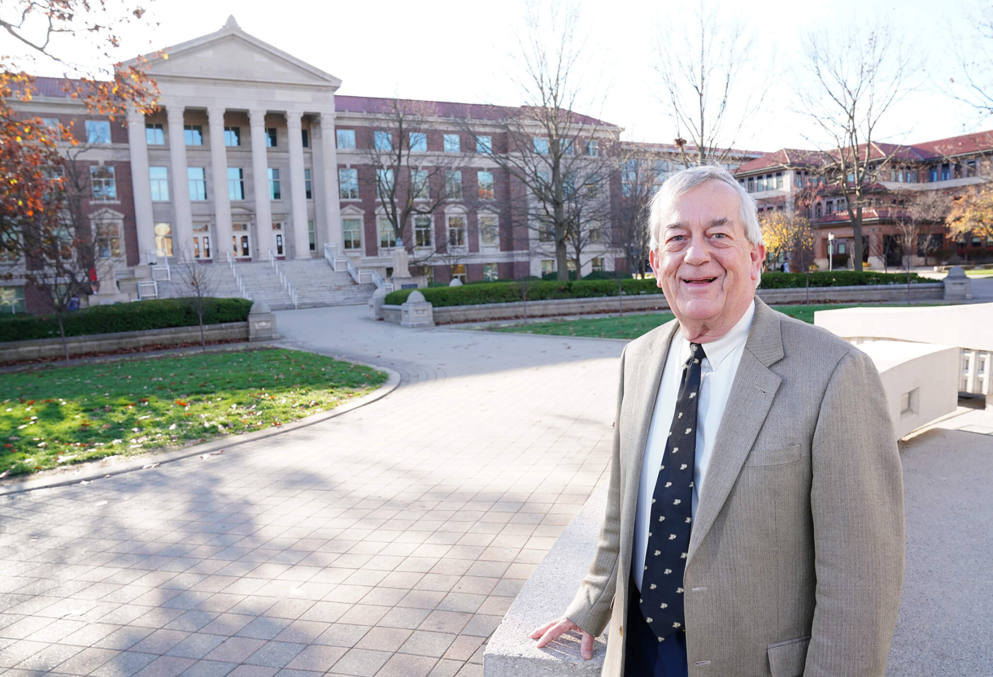 Mark Russell in front of Hovde Hall. Photo by Tom Campbell.
