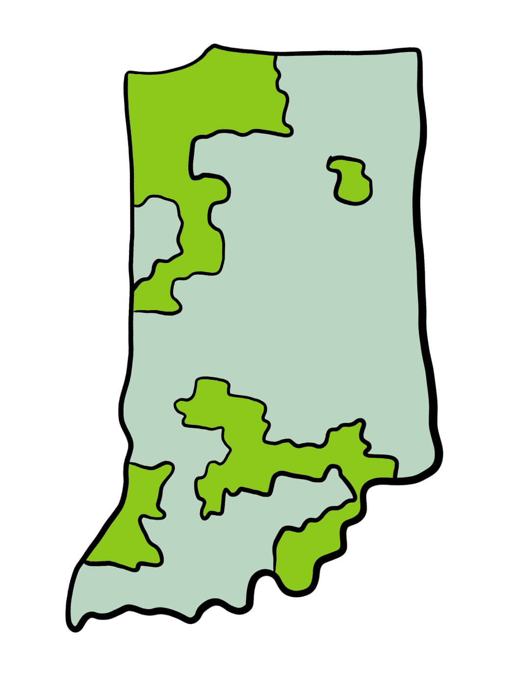 Map of Indiana Prickly Pears