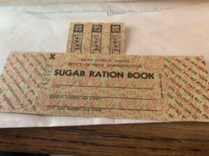 Sugar ration stamps from the 1940s