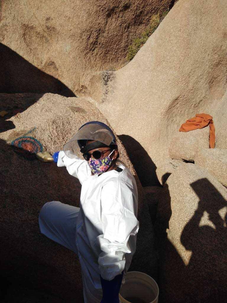 Bera works to clean graffiti off rocks.