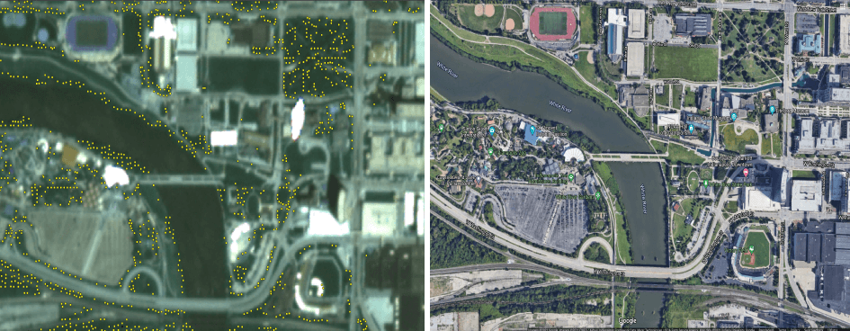 Approximated locations of tree plantings in Indianapolis, Ind. (left) vs. a Google aerial snapshot (right). Images provided by Daniel Aliaga.