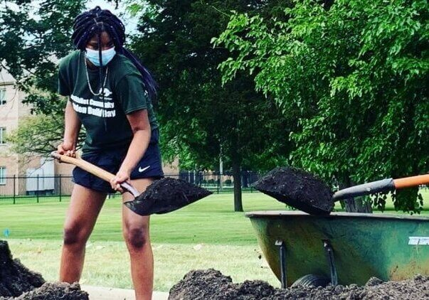People working on community garden