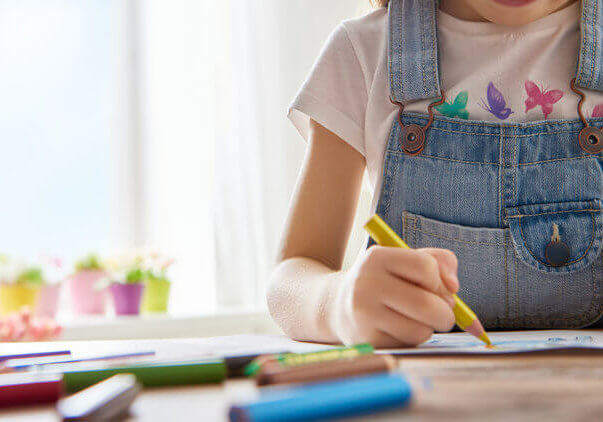 Girl with art supplies